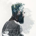 Double exposure of bearded guy and forest Royalty Free Stock Photo