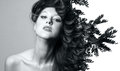 Double exposure of beautiful caucasian woman. Royalty Free Stock Photo
