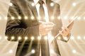 Double exposure of businessman with concert lighting from the st Royalty Free Stock Photo