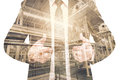 Double exposure of businessman with Industrial equipment Factory Royalty Free Stock Photo