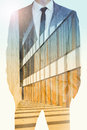 Double exposure of businessman and office building Royalty Free Stock Photo