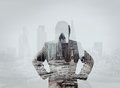 Double exposure of businessman stands successfully on building top looking towards the future Stock Photography