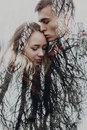Double exposure with couple and tree branches in autumn park. se Royalty Free Stock Photo