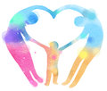 Double exposure illustration. Happy family making the heart sign Royalty Free Stock Photo