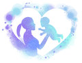 Double exposure illustration. Side view of Happy mother holding