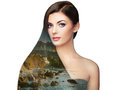 Double exposure photo of beautiful woman with long hair Royalty Free Stock Photo