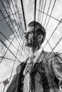 Double exposure picture of a businessman with Brooklyn Bridge Royalty Free Stock Photo