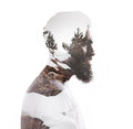 Double exposure portrait of a bearded guy and tree color Royalty Free Stock Photo