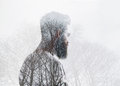 Double exposure portrait of a bearded man and tree guy Stock Photo