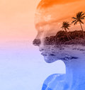 Double exposure portrait of beautiful woman and sea sunset Stock Photos
