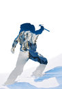 Double exposure silhouette of a mountaineer celebrating the con conquest summit mixed with mountain landscape mont blanc Stock Images