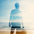 Double exposure of traveler and sea portrait Stock Photos