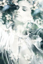 Double exposure woman beautiful young portrait Royalty Free Stock Photos