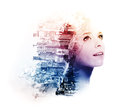 Double exposure of young woman with metropolis and doogwood dogwood flowers Royalty Free Stock Photos