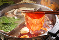 Double flavor hot pot Royalty Free Stock Photo