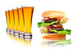Double hamburger and line of beers over white Royalty Free Stock Photography