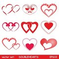 Double hearts set Stock Images