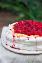 Double layered pavlova on serving table raspberry small in garden Royalty Free Stock Photo