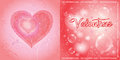 Double opening card for valentine s day with decorative hearts and bubbles on red background Stock Photo