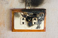 Double plug socket close up of burned Royalty Free Stock Images