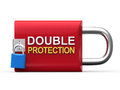 Double protection padlock on white background d render Royalty Free Stock Images