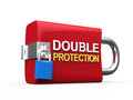 Double protection padlock on white background d render Stock Image