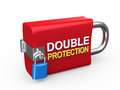 Double protection padlock on white background d render Royalty Free Stock Image
