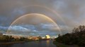Double rainbow in melbourne of the yarra river Stock Images
