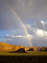 Double rainbow over monument valley rainbows appear after sudden desert storm Stock Photography