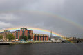 Double rainbow over river clyde in glasgow view across the to a seen a new building on the north side of the Stock Photography