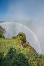 Double rainbow in spray over Victoria Falls Royalty Free Stock Photo