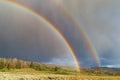 Double Rainbow With Sun And Rain