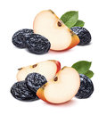 Double red quarter apple and dry plums isolated Royalty Free Stock Photo