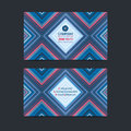 Double sided business card design layout template with geometric pattern background.