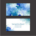 Double sided business card template with a watercolor background