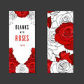 Double sides blanks with painted roses and place for text for your design Stock Photos