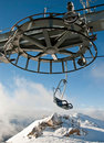Double ski lift and the wheel with moutain Royalty Free Stock Photography