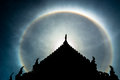Double sun halo behind the roof marvelous thaistyle temple Royalty Free Stock Photography