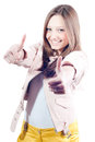 Double Thumb up Sign by Beautiful young woman Stock Photography