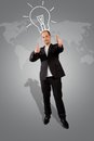 Double thumbs up a businessman has a global idea and shows a thumb sign Stock Image