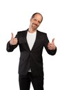 Double thumbs up a manager is using both hands for a thumb sign Royalty Free Stock Photography