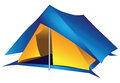 Double tourist tent nylon for a long hike vector illustration Royalty Free Stock Photography