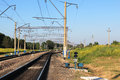 Double track double tube railroad infrastructure in the krasnoyarsk region village soljanka Royalty Free Stock Photo