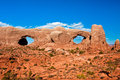 Double window arch in arches national park utah classic american western landscape Royalty Free Stock Photo