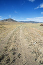 Doubletrack gravel road vertical image of heading towards distant nevada mountains Royalty Free Stock Image