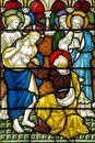Doubting thomas stained glass window victorian showing st that jesus christ has been resurrected by sticking his finger in his Royalty Free Stock Photography