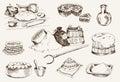 Dough at home set of vector sketches Royalty Free Stock Photos