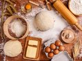 Dough recipe ingredients Royalty Free Stock Photo