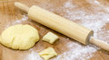 Dough with rolling pin Royalty Free Stock Photo