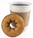 Doughnut and coffee fresh for a breakfast on the go Stock Photos